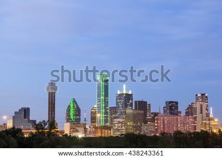 Dallas downtown skyline illuminated at night. Texas, United States - stock photo