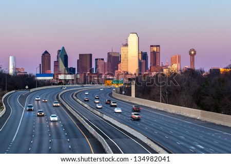 Dallas downtown skyline in the evening, Texas - stock photo
