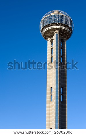 Dallas famous landmark - Reunion Tower in daylight - stock photo