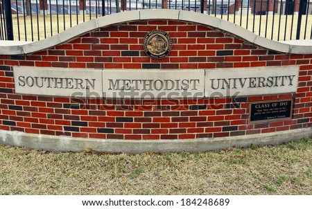 DALLAS - MARCH 14: An entrance to Southern Methodist University in Dallas, Texas on March 14, 2014. SMU is home to the George W. Bush Presidential Library and Museum. - stock photo