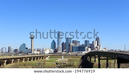 DALLAS - MARCH 13: The skyline of the city of Dallas, Texas on March 13, 2014. Dallas is one of the largest cities in the United States. - stock photo
