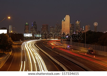 DALLAS-OCT. 1: A View of Skyline Dallas at Night on Oct. 1, 2013 in Dallas, Texas. Dallas is the ninth most populous city in the United States and the third most populous city in the state of Texas. - stock photo