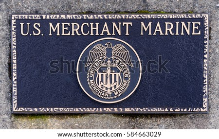 Dallas, Oregon - February 18, 2017 - Commemorative plaque honoring those who have served and veteran's of the United States Merchant Marine.