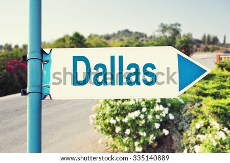 Dallas Road Sign with beautiful nature and road on background. United States of America - stock photo