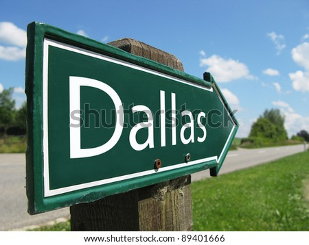 Dallas signpost along a rural road