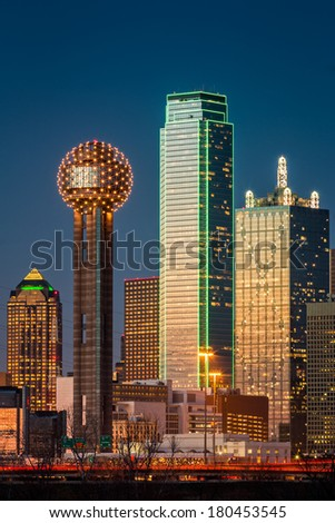 Dallas skyscrapers at sunset - stock photo