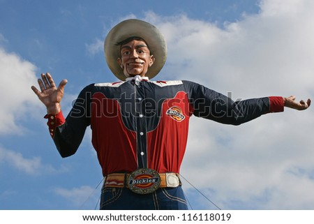 "DALLAS STATE FAIR OF TEXAS, OCT 19: The last day of the friendly greeting State Fair icon. ""Big Tex"" caught fire and burned completely down October 19, 2012. Dallas - stock photo"