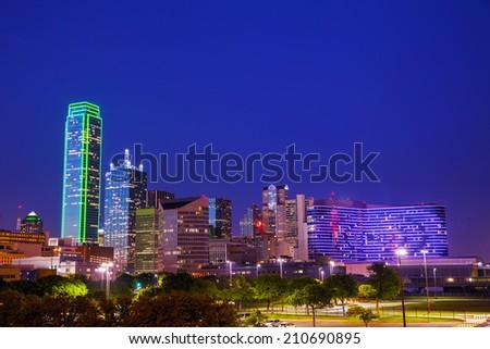 Dallas, Texas cityscape at the night time - stock photo