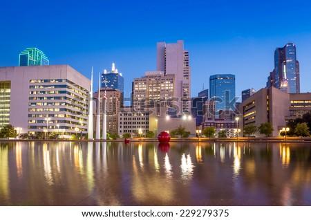 Dallas, Texas cityscape with blue sky at twilight, Texas - stock photo