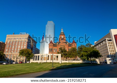 Dallas, Texas cityscape with blue sky, Texas - stock photo
