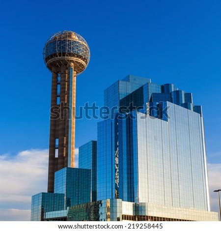 Dallas, Texas cityscape with blue sky, Texas - stock photo