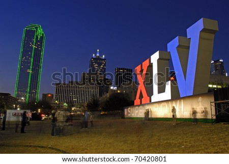 DALLAS, TEXAS - FEBRUARY 3: XLV sign in Dallas, Texas on February 3, 2011 in support of the upcoming Superbowl.  The Superbowl will be held on February, 6, 2011 in Arlington, Texas. - stock photo
