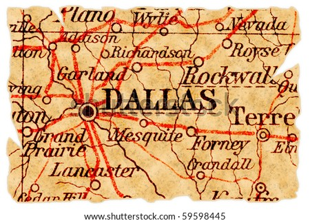 Dallas, Texas on an old torn map from 1949, isolated. Part of the old map series. - stock photo
