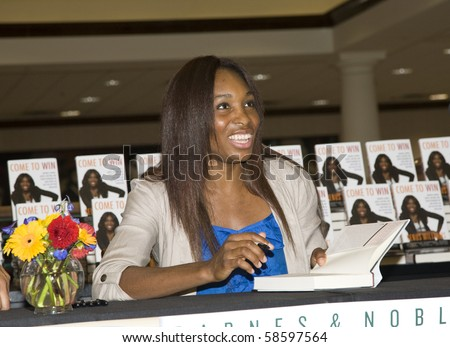 DALLAS, TEXAS/USA-JULY 11: Venus Williams signing copies of her newly released book, Come To Win, on July 11,2010 in Dallas. - stock photo