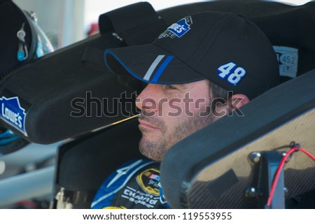 DALLAS, TX - NOVEMBER 02:Jimmie Johnson wins the Coors Light Pole at the  Nascar Sprint Cup Qualifying at Texas Motorspeedway in Dallas, TX on November 02, 2012