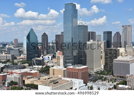 DALLAS, TX - SEP 17: Aerial view of Dallas, Texas, from the Reunion Tower Observation Deck, as seen on Sep 17, 2016. Dallas is the fourth most populous metropolitan area in the United States.