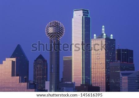 Dallas, TX skyline at night - stock photo