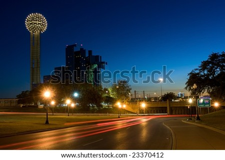 Dallas underpass where JFK was shot with memorial visible - stock photo