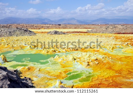 Dallol, Colorful vulcano in Danakil dessert - stock photo