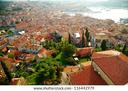 Dalmatian coast from the city of Rovinj , Croatia - stock photo