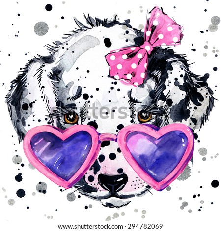 Dalmatian puppy T-shirt graphics,  puppy illustration with splash watercolor textured background. unusual illustration watercolor puppy dog for fashion print, poster for textiles, fashion design - stock photo