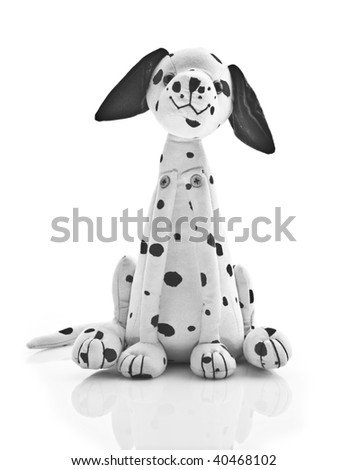 Dalmatian toy-dog over white - stock photo