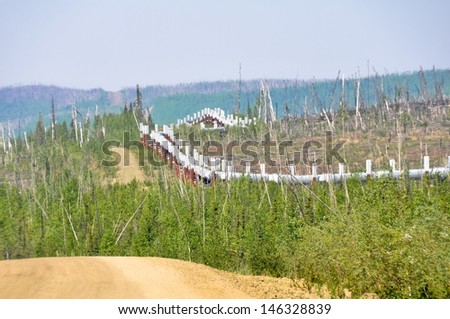 Dalton Highway and Trans-Alaska oil pipeline (USA) - stock photo