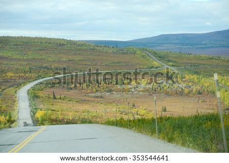 dalton highway in alaska - stock photo