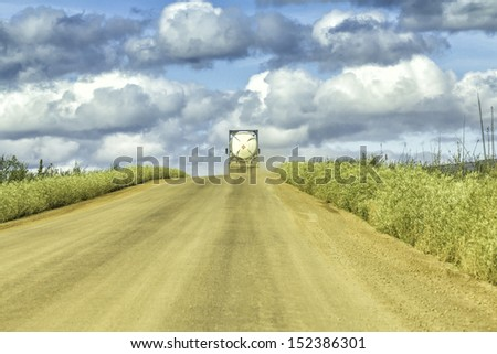 Dalton Highway on the way to Arctic Circle - stock photo