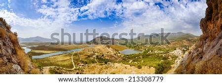 Dalyan river valley panoramic landscape - stock photo