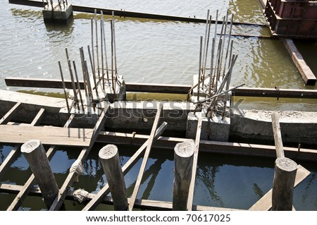 Dam construction - stock photo