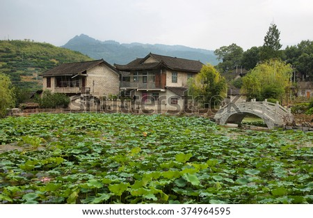 Dam full  plants and beautiful houses in anciaet Furong (hibiscus) village, Hunan province, China.