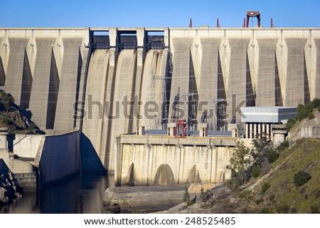 Dam in Alcantara, Extremadura, Spain - stock photo