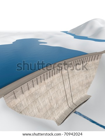 Dam in an abstract, stylized landscape - stock photo