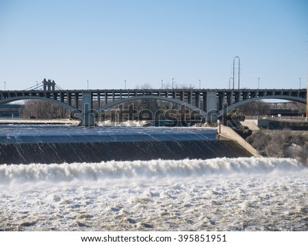 Dam in the Mississippi River