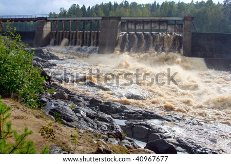 Dam of a hydroelectric power station on a karelian river, Russia
