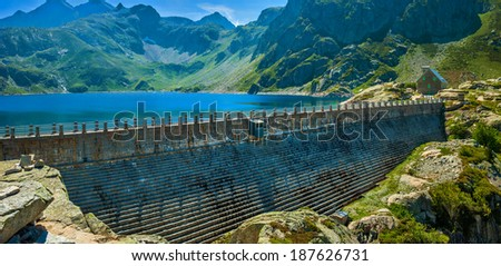 Dam on mountains top in France. - stock photo