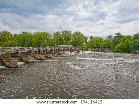 Dam on the river - stock photo