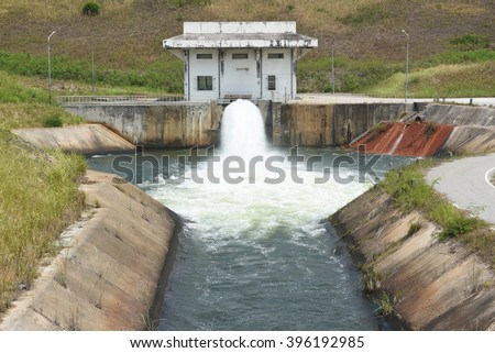 Dam release of water into irrigation canals for agriculture