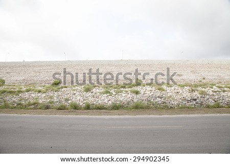 dam road and sky cloud . - stock photo
