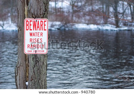 Dam Warning Sign - stock photo
