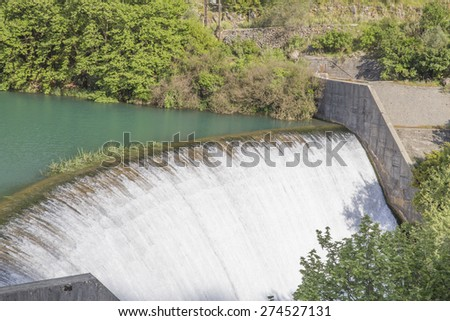 dam, waterfall green, Filipiada, Preveza prefecture Greece - stock photo
