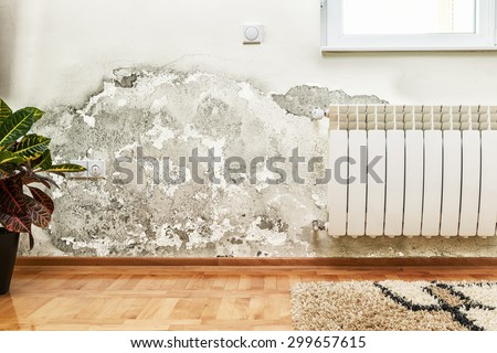 Damage caused by damp on a wall in modern house - stock photo