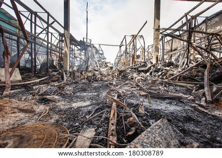Damage caused by fire in Thailand. - stock photo
