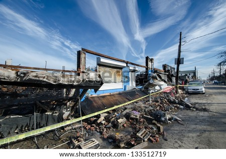 Damage caused by hurricane Sandy in the Rockaways, Queens, New York. - stock photo