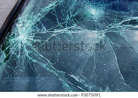 Damage on car, broken glass texture - stock photo