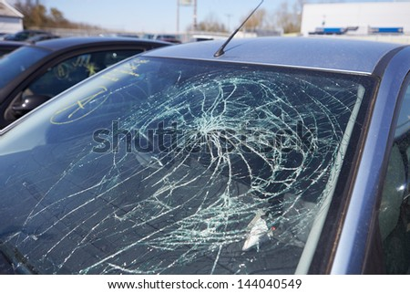 Damage To Car Involved In Accident - stock photo