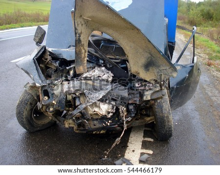 Damage to the front of the vehicle