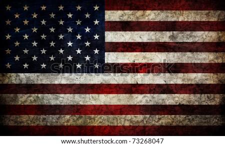 Damaged american flag background. - stock photo