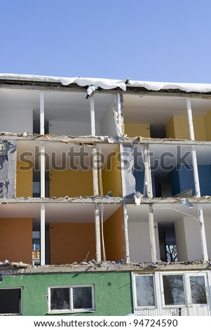 Damaged apartment on a sunny day - stock photo